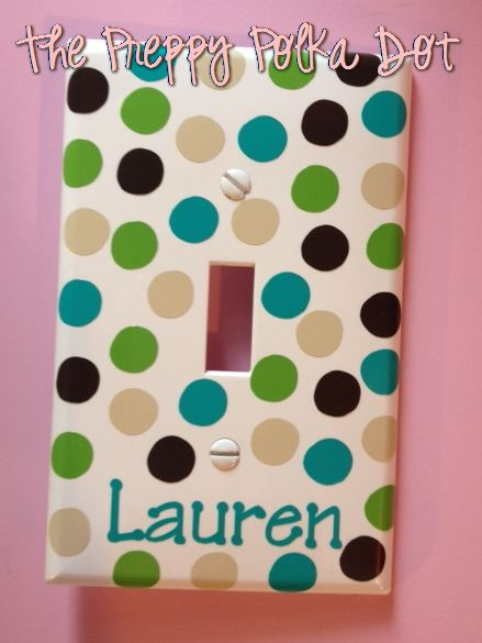 Personalized Polka Dot Light Switch Cover