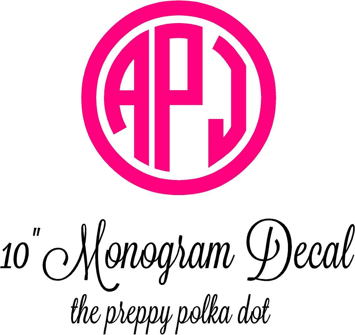 "10"" Monogram Decal Sticker"